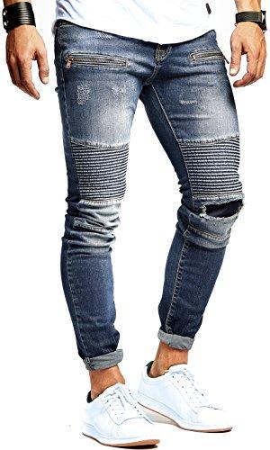 LEIF NELSON Herren Jeanshose Biker Jeans gesteppt Hose Stretch Blau Denim Slim Fit LN9915BL; W34L32, Blau