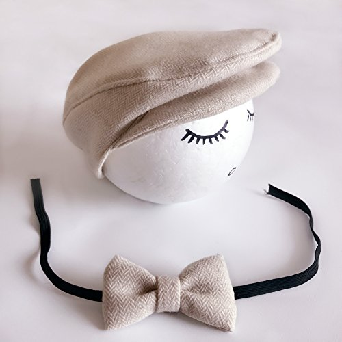 Hunde Matching Kostüm - qqyz Gentleman Cap + Tie Baby Cartoon Foto-Kappe Neugeborene Kinder Fotografie Kostüm 0-1 Monate Hat Reis Farbe Matching
