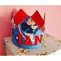 Corona Cumpleaños Tela Mickey Fondo Azul