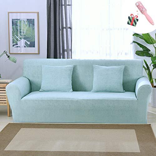 Elastisch Sofa Überwürfe Sofabezug, Morbuy Einfarbig Ecksofa L Form Stretch Antirutsch Armlehnen Sofahusse Abdeckung für Sofa Couchbezug Sesselbezug (2 Sitzer,Aquablau)