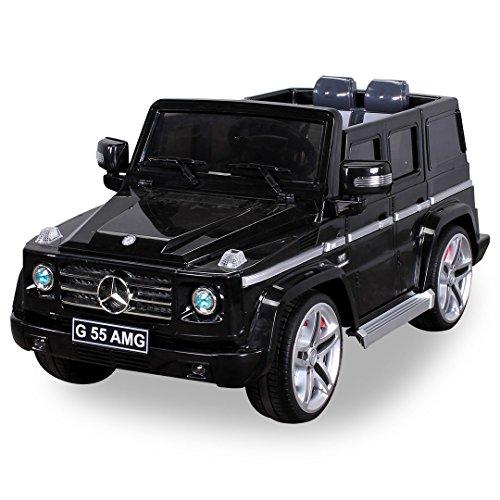 *Original MercedesBenz AMG G55 High Door – Leder Sitz Jeep Lizenz Elektro Kinderauto Kinderfahrzeug Spielzeug (schwarz)*