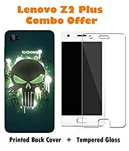 Lenovo Z2 Plus Skull Printed Blue Hard Back Cover with Premium Tempered Glass Combo By Make My Print