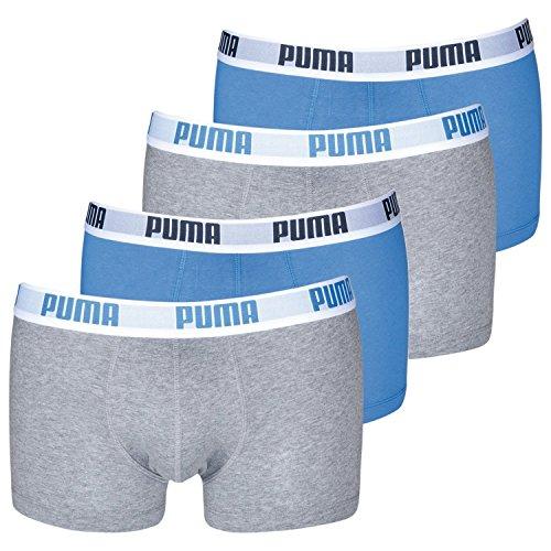 PUMA Herren Basic Boxer Boxershort 4er Pack grau/blau/grau/blau 417 - XL - 4 Pack Boxershorts
