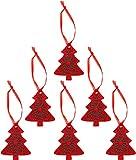 Piebert 6X Anhänger Tannenbaum Christbaumschmuck Weihnachtsbaumschmuck Filz 2-lagig Rot Grün Vegan