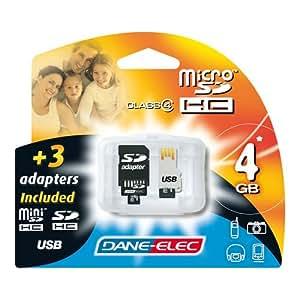 Dane Elec Carte mémoire Micro SD 4 en 1 Adaptateur SD mini USB 4 Go