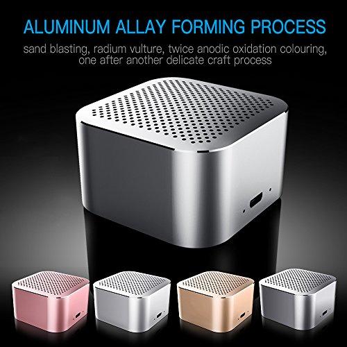OKE Mini tragbarer Bluetooth Lautsprecher Wireless Speaker Bluetooth Box Moblier Lautsprecher (80 Gramm, Kabellos klarer Klang, lange Akkulaufzeit, Metallgehäuse, TF Karte, USB AUX Kabel)- Grau