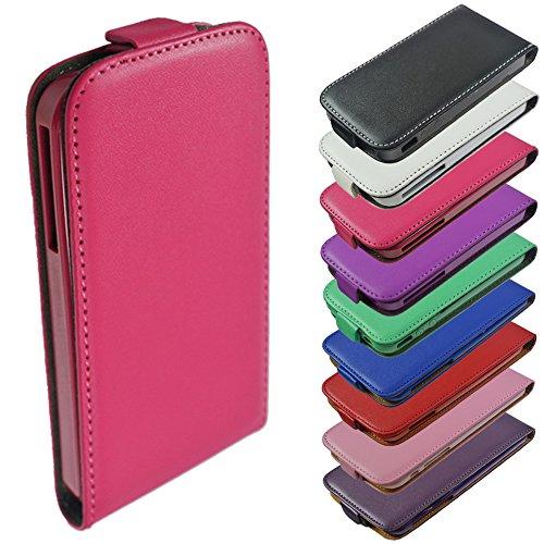 Für Apple iPhone Flip Handy Tasche Case Flip Cover Hülle Etui Klapptasche iPhone 5 - 5s Weiss Pink