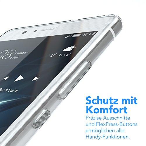 Huawei P9 Lite Hülle, EAZY CASE Ultra Slim TPU Handyhülle - dünne transparente Schutzhülle aus Silikon Weiß / Grün