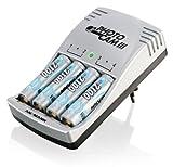 ANSMANN PhotoCam III Steckerladegerät für bis zu 4 NiMH- oder NiCd Akkus / Akkuladegerät für Micro AAA & Mignon AA / Mit Ladeanzeige  Akku-Defekterkennung & Überladeschutz / inkl. 4 AA Akkus 2100