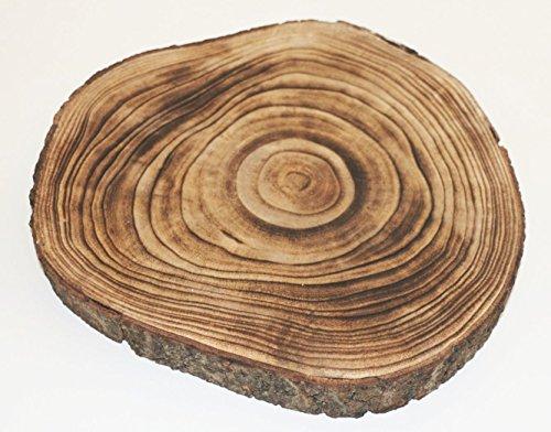 Holzscheibe GEFLÄMMT 28x3cm rund Baumscheibe Holz Scheibe Baum Scheibe Basteln Holzscheiben Dekoteller Dekoschale Unterleger Untersetzer geflammt Dekoobjekt (Baum-scheiben Holz)