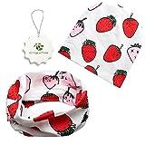 GingkoTree Babybekleidung Schals Niedliche Baby Kleinkind Kinder Cartoon drucken Hut Kappe Mütze + Schal Warp Set für 0-2 Jahre (Erdbeere)