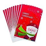Alwayswin 10PC Weihnachten PVC Geschenktüten Disposable Tote Weihnachtssüßigkeit Geschenk Beutel Verzierungen Candy Geschenktüte Weihnachtsmuster Tasche