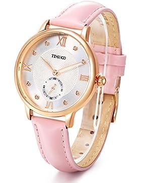 Time100 NEU Damenuhr Lederarmband Rosa Qaurzuhr Wasserdicht Armbanduhr mit Strass #W80099L.03A