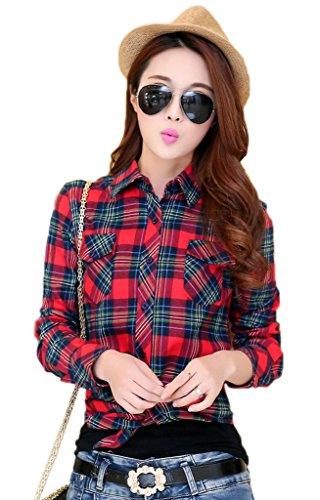 Smile YKK Chemisier Femme Manche Longue Blouse Coton Col Chemise T-shirt à Carreaux Automne Rouge Bleu A