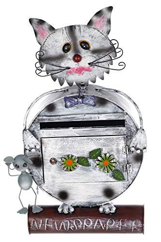 Birendy Briefkasten Katze 12A478-2 Handbemalt Metall Zeitungsrohr Wandbriefkasten 74cm