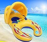 YS Baby Schwimmsitz Aufblasbare Schwimmring Schwimmhilfe Schlauchboot Schwimmreifen Doppel Schwimmring mit Sonnenschirm Schwimmhilfen für Baby Kinder