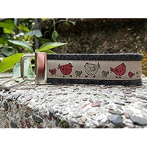 Schlüsselanhänger Schlüsselband Wollfilz anthrazit Hühner beige rot schwarz!