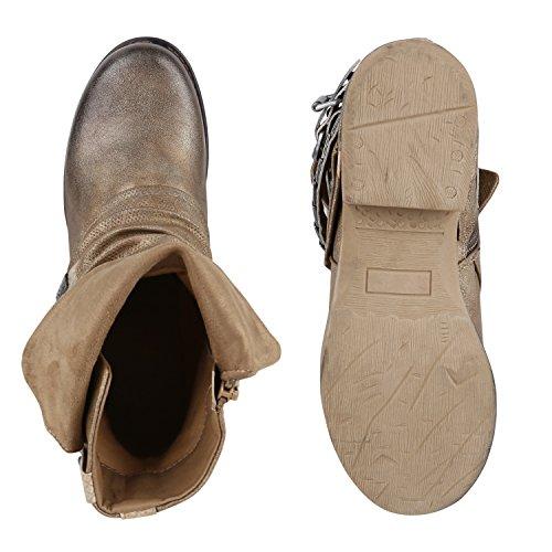Damen Biker Boots Used Look Metallic Stiefeletten Nieten Schuhe Gold
