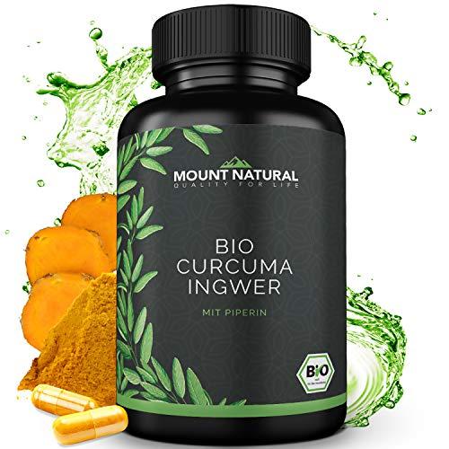 Bio Curcuma & Bio Ingwer & Bio Pfeffer (180 Kapseln), NEUARTIGE KURKUMA KOMBINATION: Curcumin & Gingerol & Piperin. Hochdosiert, vegan, laborgeprüft ohne Zusatzstoffe