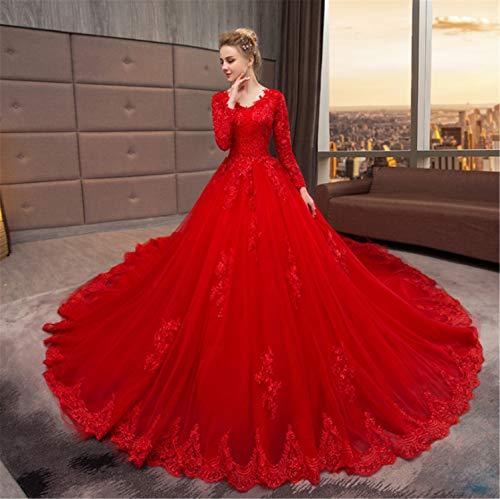 d,Damen Trägerloses Rückenfreies Stilvolles Brautkleid Mit Ärmeln Perfekte Prinzessin Große Lange Schleppend Mit Spitze Rot ()