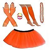 Red Star Fancy Dress Kostümset mit Tutu, Stulpen, Fischnetz-Handschuhen, Perlen-Halskette und Armbändern mit Neon-Perlen Gr. One size, Orange