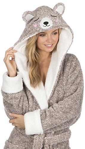 KATE MORGAN Ladies Soft & Cosy Hooded Dressing Gown (Medium, Mink ...