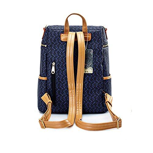 Damen Mädchen Rucksack Multifunktionale Umhängetasche Weiblichen Koreanischen Version 2017 Neue Pu Wilden Großen Reise Rucksack Studentinnen Tasche blau