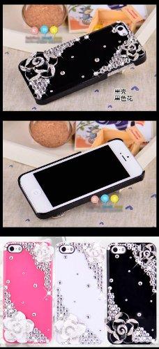 Puce Cristal Diamant Bling Cover Housse Coque Étui Case Pour Apple iPhone 5 5S Camélia Noir)