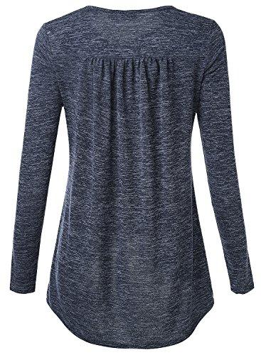 DJT Damen Casual Bluse Langarm T-Shirt Tops mit V-ausschnitt Blau