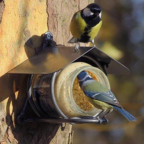 Erdnussbutter für Gartenvögel - Set (4 x 330g) + Erdnussbutter-Glashalter aus Metalldraht