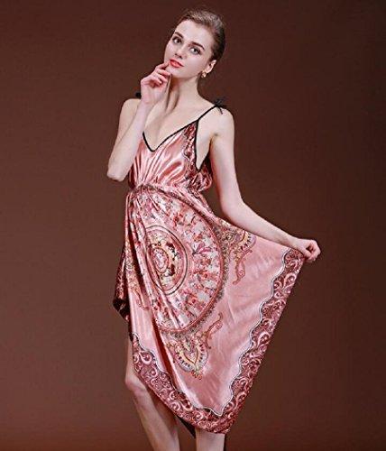 LJ&L Frau elegant Druck dünne Seide Slip atmungsaktiv casual dress Pyjamas Bademantel,silver,one size Pink