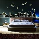 YESURPRISE Vinilo Decorativo Adhesivo Pegatina Pared Fluorescente Para Salón y Dormitorio Ciudad Noche Estilo Moderno