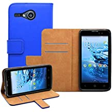 Membrane - Azul Cartera Funda Carcasa para Acer Liquid Z520 - Wallet Case Cover + 2 Protector de Pantalla