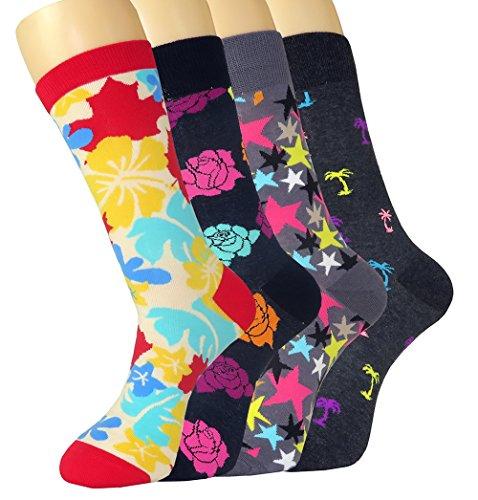 FULIER Herren 4 Paar Lässige Mode Bunte Baumwolle Kleid Kalbsleder Crew Socken (Arbeiten Kleid Schuh-komfort Casual)