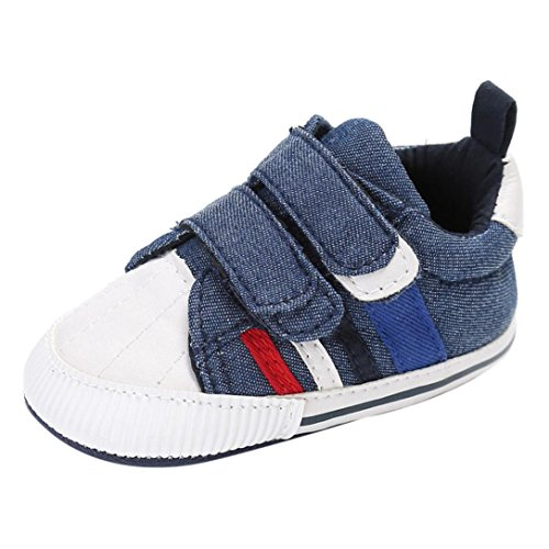 Jungen Baby Schuhe Für (FNKDOR Baby Neugeborene Schuhe, Jungen Mädchen Klettverschluss Weiche Rutschfest Lauflernschuhe (6-12 Monate, Blau))