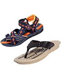 Indistar Boys Comfortable Flip Flop House Slipper And Office Sandal-Orange/Cream- Pack Of 2 Pairs