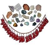 24 Edelsteine und Mineralien Adventskalender rote Filz Socken Stiefel gefüllt mit Rohstücke Figuren und Anhänger