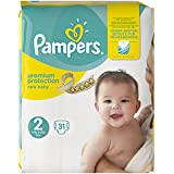 Pampers Premium Protection New Baby Taille 2 Mini 3–6 kg Porter Pack, pack de 4 (4 x 31 pièces)