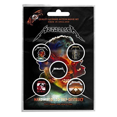 Metallica badge pack 5 x Pin Button Band logo albums hardwired Nue offiziell