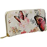Maple Butterfly Faux Leather Womens Zip around Wallet -- SwankySwans