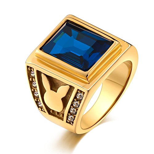 Azure Blau Keramik (Bishilin Edelstahlring Herren Gold mit Hasen Rechteck Hell Azure Zirkonia Vintage Gold Ring Freundschaftsring Größe 57 (18.1))