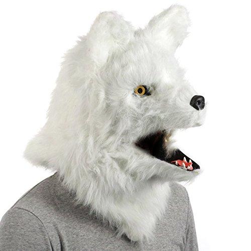 CoolChange realistische Voll Tier Maske, Weißer (Halloween Weiße Die Maske)