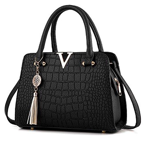 RedSwan Damen Henkeltaschen Tote Handtasche PU Leder Taschen (Black)