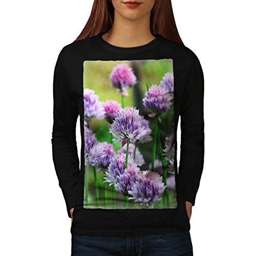 Klee Blume Wild Natur Natur Damen M Langarm-T-Shirt | Wellcoda (Klee Licht-t-shirt)