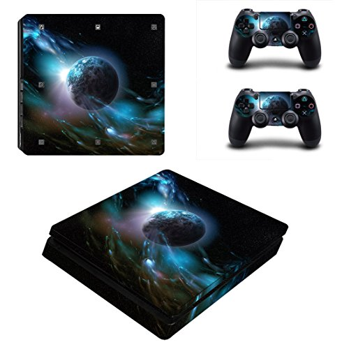 Morbuy Ps4 Slim Skin Consola Design Foils Vinyl Pegatina Sticker And 2 Playstation 4 Slim Dualshock Controlador Skins Set (Dark Earth)