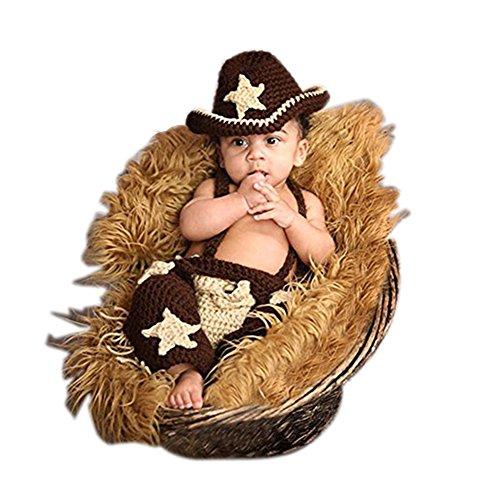 Vemonllas Neugeborenen Foto Kostüm Junge Mädchen Outfit Baby Fotografie Requisiten Cowboy Hüte Strampelhöschen