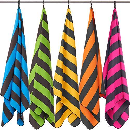 Fit-Flip Strandhandtuch XXL 200x100cm / Pink - Dunkelgrau gestreift- mikrofaser Handtuch 200, strandhandtuch Kinder, extraleichte badetücher - Pink Gestreiften Strand Handtuch