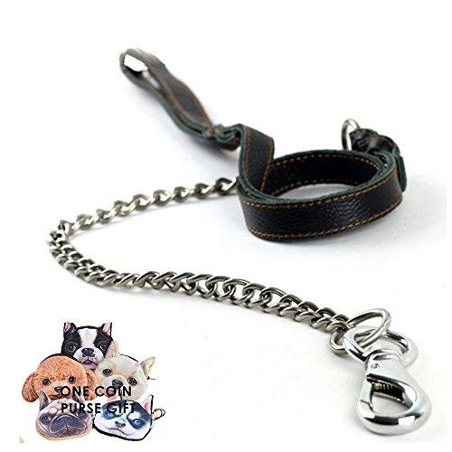 petfun Royal Style Echt Leder mit Edelstahl Qualität anti-chewing Hundeleine, schwarz und (Kristall Großhandel Zubehör)
