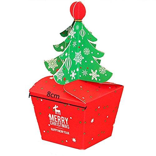 Merry Christmas Tree Bell Party Papier für Geschenk Candy Cupcake Staubbeutel Boxen ()
