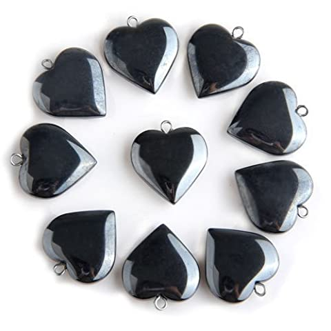 Gleader 20 X Black Hematite Gemstone Heart Pendants Beads 20mm HOT